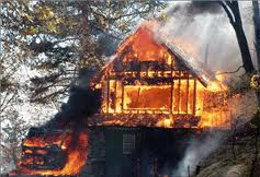 Timber frame house on fire California